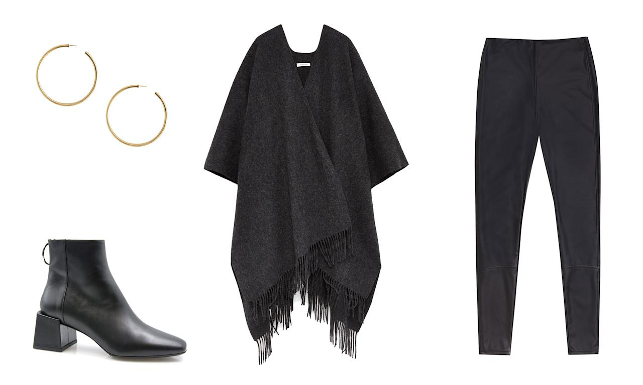 <p>Take a cue from Teigen and go for a boho-chic style for your next weekend look. Pair a cozy fringe poncho with gold hoop earrings and black booties. Opt for vegan leather leggings instead of leather pants if you prefer animal-friendly (and more affordable) gear. </p>