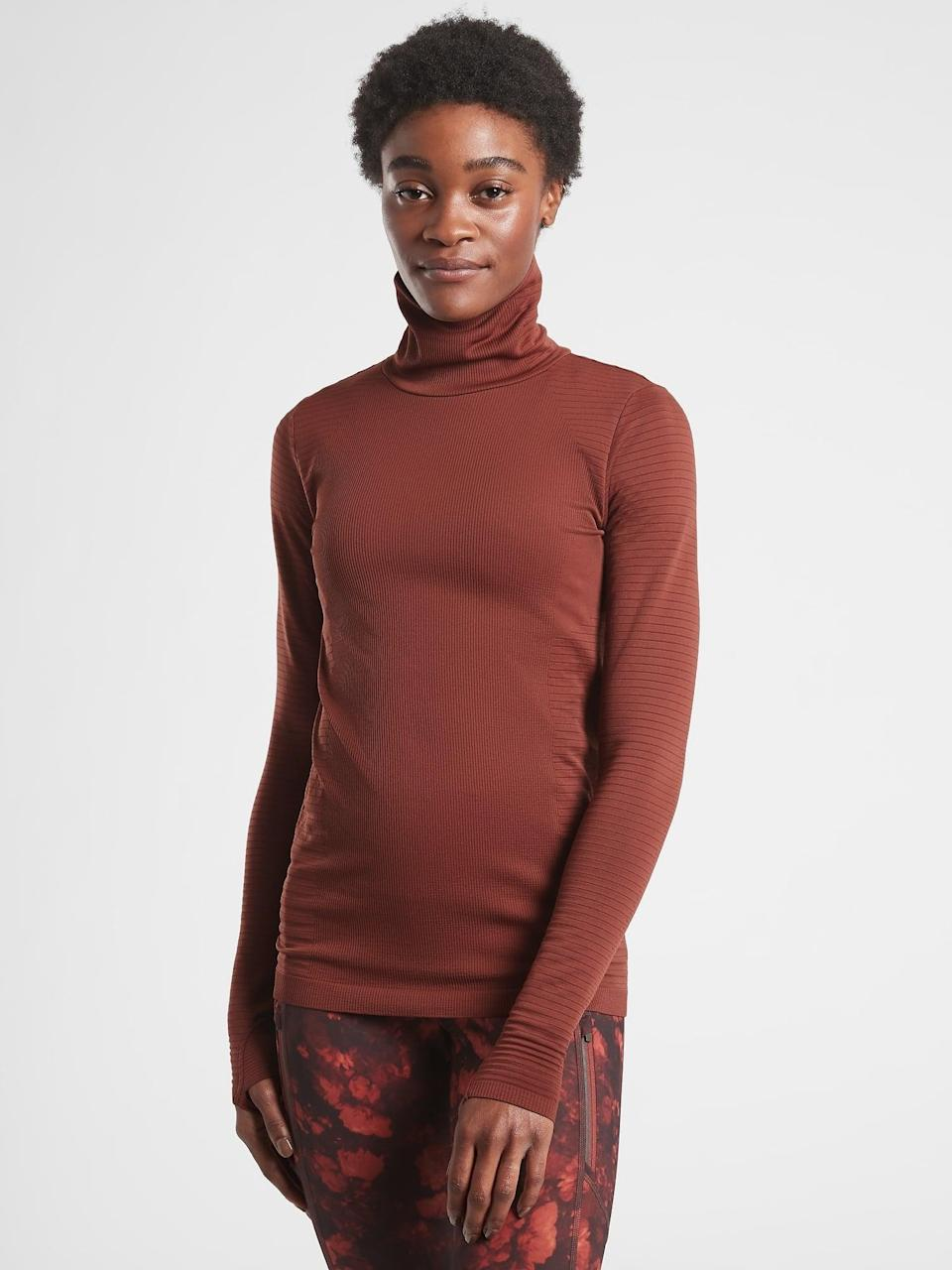 <p>When doing training runs or other activities outdoors, this <span>Athleta Flurry Blizzard Rib Turtleneck</span> ($89) has you covered from neck to wrists.</p>
