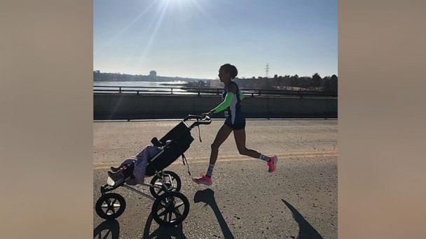 PHOTO: Julia Webb won the female division of the 2019 Route 66 Half-Marathon while pushing her 10-month-old daughter Gabby in a stroller. (Courtesy Julia Webb)