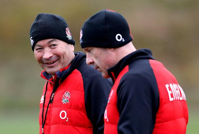 Rugby Union - England Training - Pennyhill Park, Bagshot, Britain - February 20, 2018 England head coach Eddie Jones speaks to head of sport science Dean Benton during training Action Images via Reuters/Paul Childs