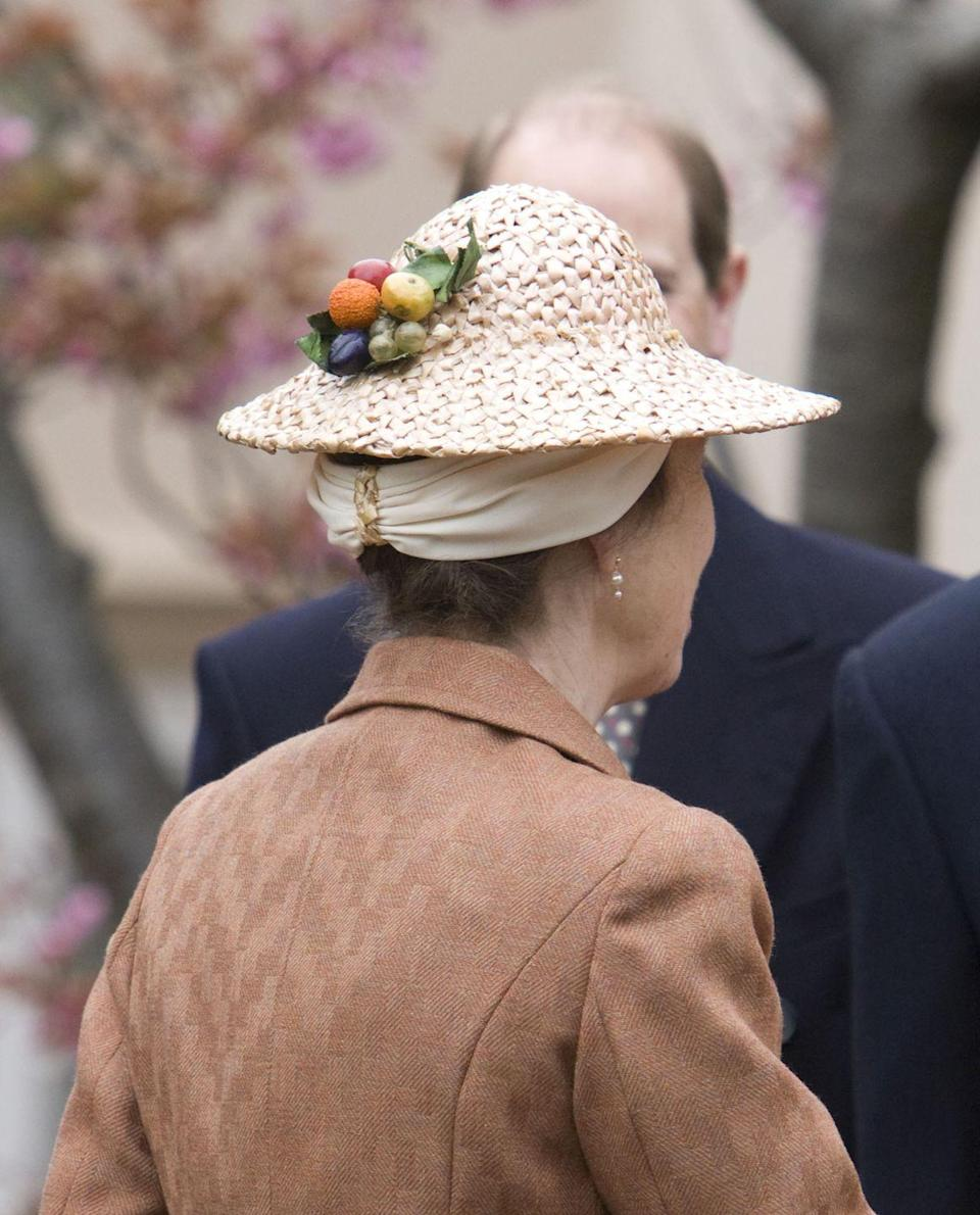 <p>The Princess Royal attended Easter services, but her hat looked ready for brunch. The straw cap was detailed with adorable miniature fruit. <br></p>