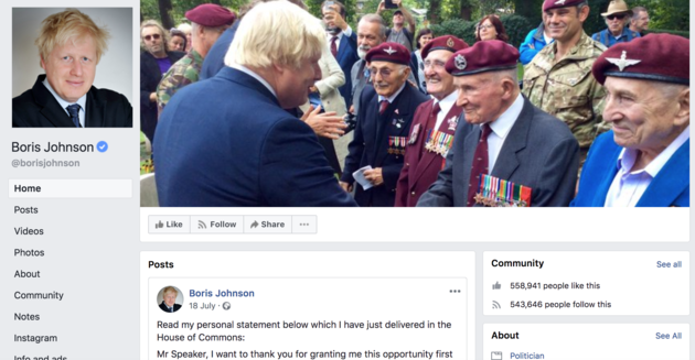 The official Facebook page of ex Foreign Secretary Boris Johnson.
