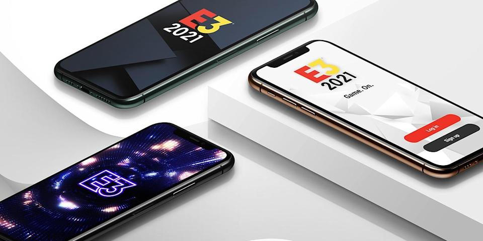 The E3 logo displayed on three cell phones