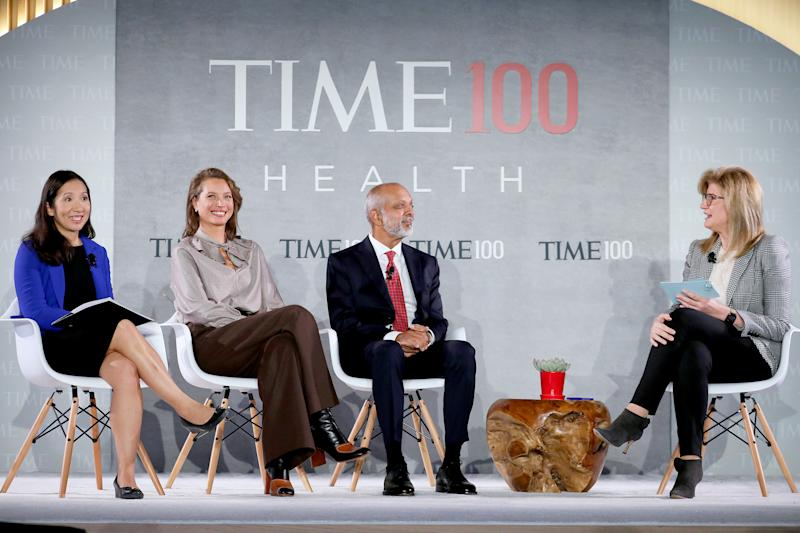 (L-R) Dr. Leana Wen, Christy Turlington Burns, Dr. Naveen Rao and Arianna Huffington speak onstage during the TIME 100 Health Summit at Pier 17 in New York City on Oct. 17, 2019. | Brian Ach—Getty Images for TIME 100 Health