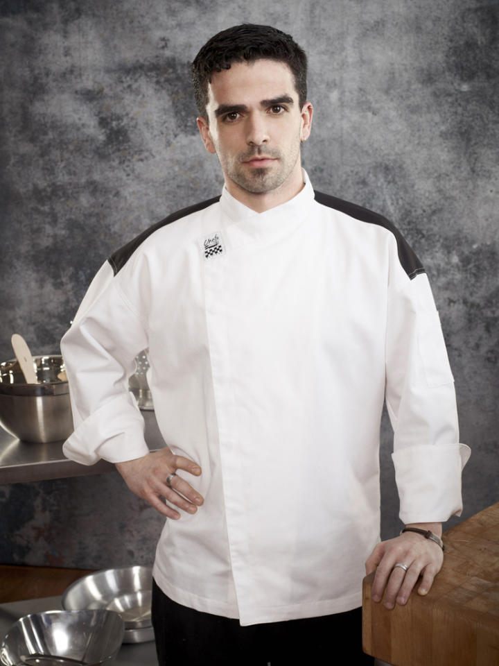 """<b><span style=""""font-size:11.0pt; """">Name:</span></b><span style=""""font-size:11.0pt;  """"> Guy Vaknin<b><br>Age:</b> 28<b><br>Occupation:</b> Executive Catering Chef<b><br>Hometown:</b> New York, NY</span><b><span style="""" font-size:11.0pt; """"><br>Signature Dish: </span></b><span style=""""font-size:11.0pt;  """">Pan Seared Striped Bass with Chocolate Miso</span>"""
