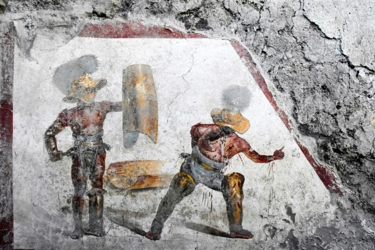 The fresco was uncovered in what experts think was a tavern frequented by gladiators (AFP Photo/Handout)