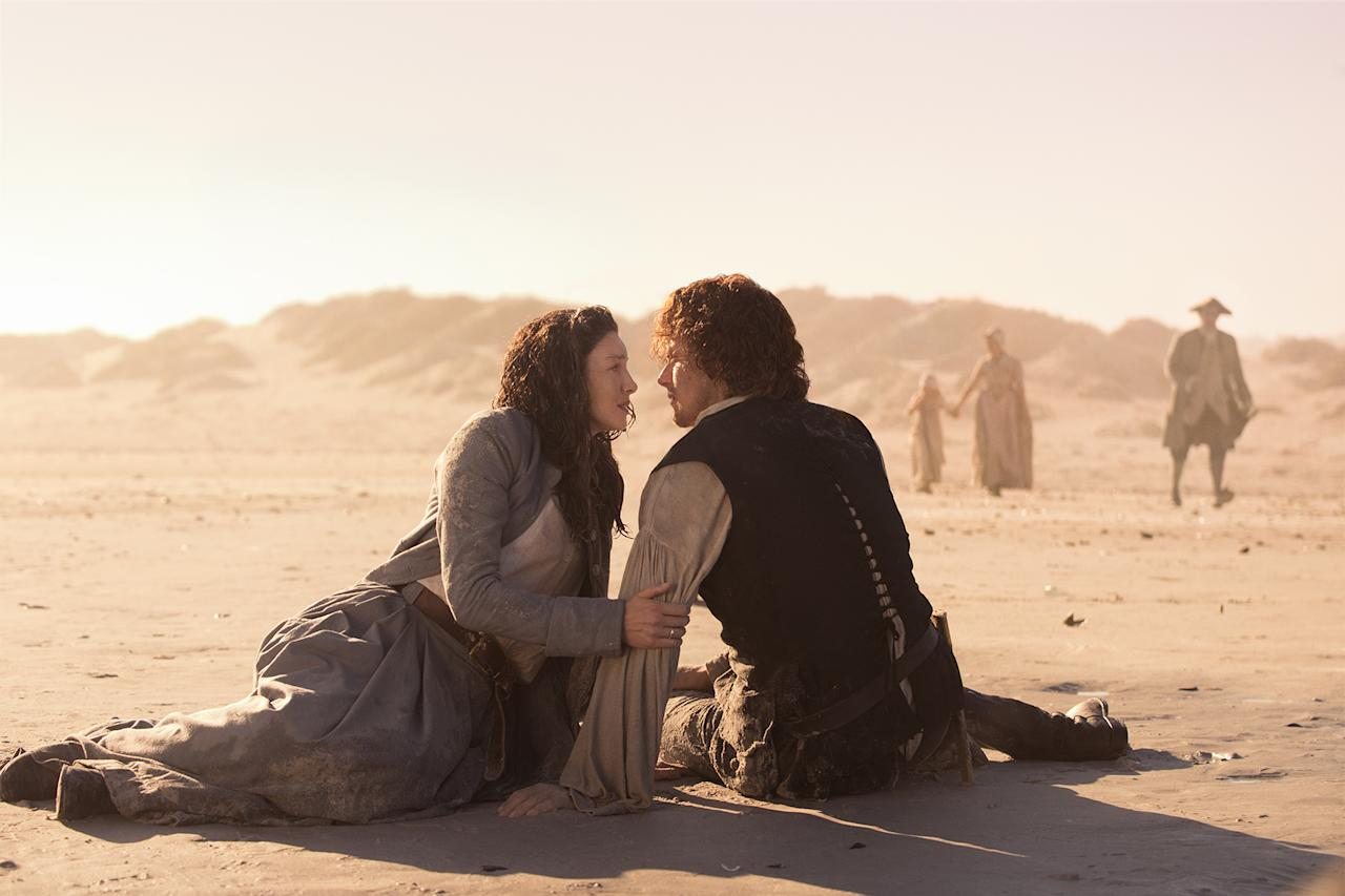 <p>Caitriona Balfe as Claire Randall Fraser, Sam Heughan as Jamie Fraser in Starz's Outlander.<br />(Photo: Starz) </p>