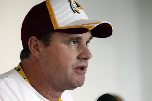 Washington Redskins head coach Jay Gruden speaks during a media availability at the team's NFL football training facility, Thursday, July 24, 2014 in Richmond, Va. (AP Photo)