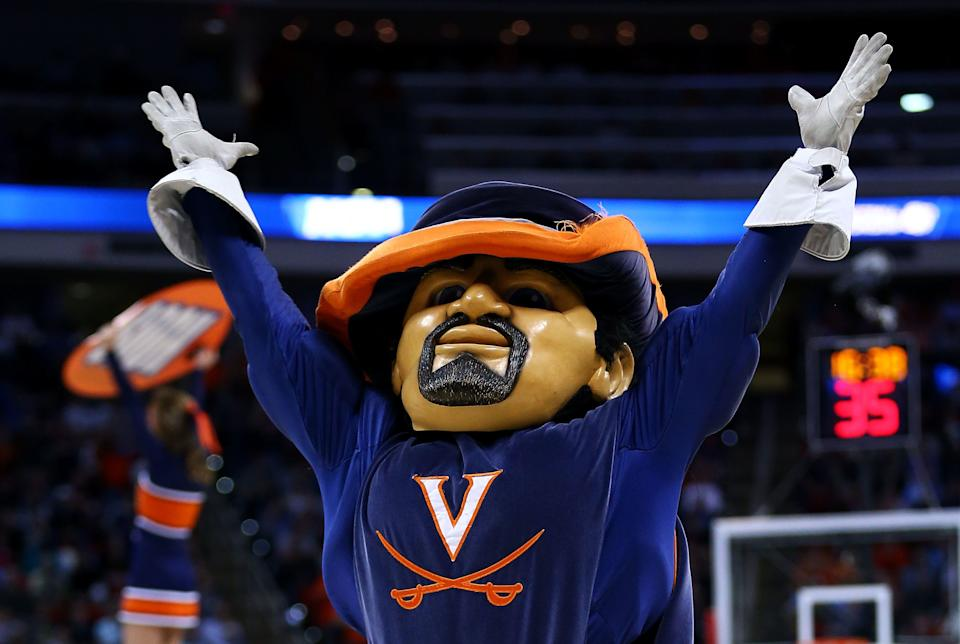 RALEIGH, NC - MARCH 21:  The Virginia Cavaliers mascot, CavMan, performs in their game against the Coastal Carolina Chanticleers during the Second Round of the 2014 NCAA Basketball Tournament at PNC Arena on March 21, 2014 in Raleigh, North Carolina.  (Photo by Streeter Lecka/Getty Images)