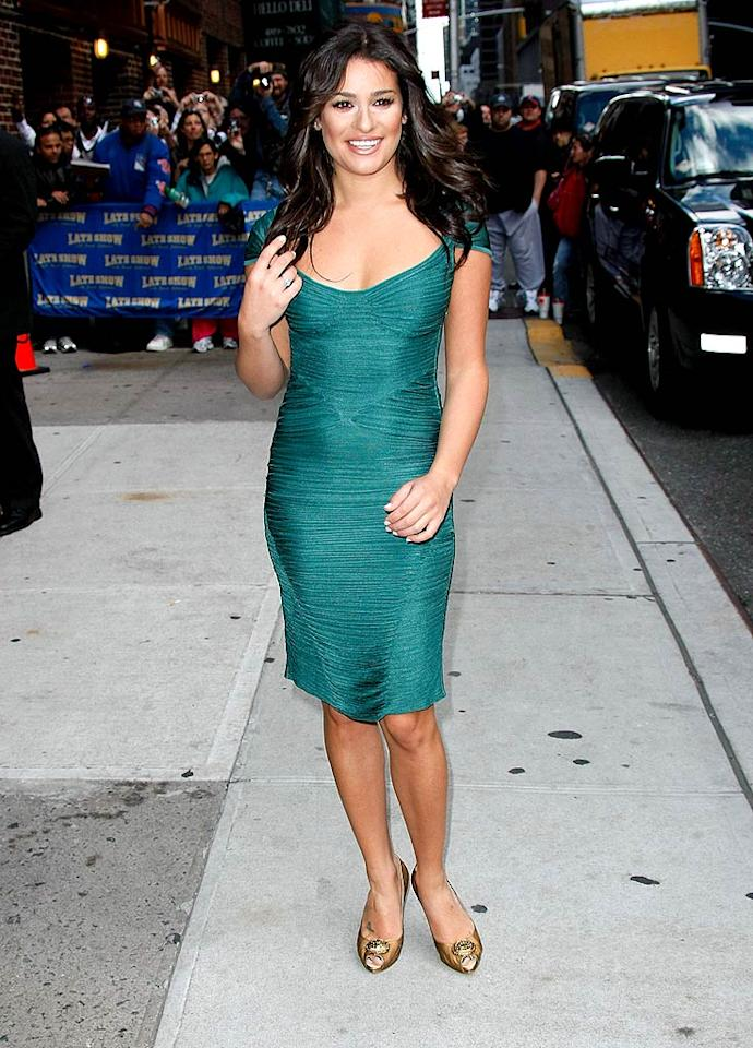 """Back on the streets of New York, """"Glee's"""" breakout star Lea Michele posed for the paparazzi in a tantalizing teal dress and bronzed peep-toes before heading into the Ed Sullivan Theater to chat with Dave Letterman. Jeffrey Ufberg/<a href=""""http://www.wireimage.com"""" target=""""new"""">WireImage.com</a> - October 5, 2009"""
