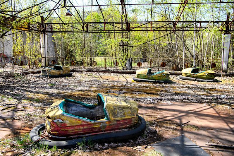Abandoned amusement park in the city center of Prypiat in Chornobyl exclusion zone. Radioactive zone in Pripyat city - abandoned ghost town. Chernobyl history of catastrophe. April 2019 (Photo by Maxym Marusenko/NurPhoto via Getty Images)