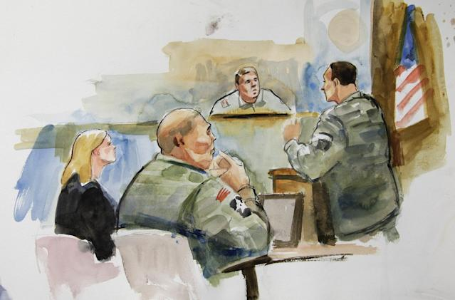 In this courtroom sketch, U.S. Army Staff Sgt. Robert Bales, second from left, sits next to Emma Scanlan, left, his civilian attorney, as they listen to military prosecutor Maj. Rob Stelle, right, make his closing statements to Investigating Officer Col. Lee Deneke, second from upper right, Tuesday, Nov. 13, 2012 on the final day of a preliminary hearing for Bales at Joint Base Lewis McChord in Washington state. Bales is accused of 16 counts of premeditated murder and six counts of attempted murder for a pre-dawn attack on two villages in Kandahar Province in Afghanistan in March, 2012. (AP Photo/Lois Silver) TV OUT