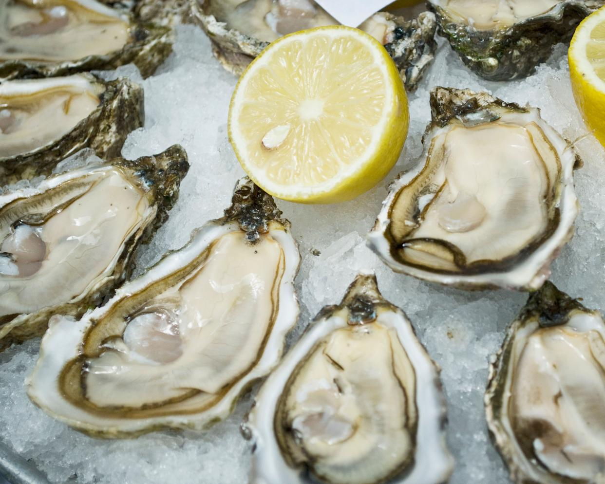 """The classic """"aphrodisiac"""" -- but does anyone know why? They're slimy and gross-looking and offend probably half of the population. <a href=""""http://ndb.nal.usda.gov/ndb/foods/show/4630?fg=&man=&lfacet=&format=&count=&max=25&offset=&sort=&qlookup=oysters"""" rel=""""nofollow noopener"""" target=""""_blank"""" data-ylk=""""slk:Oysters"""" class=""""link rapid-noclick-resp"""">Oysters</a> are high in zinc, and a deficiency in zinc has been <a href=""""http://www.livestrong.com/article/421465-zinc-testosterone/"""" rel=""""nofollow noopener"""" target=""""_blank"""" data-ylk=""""slk:linked"""" class=""""link rapid-noclick-resp"""">linked</a> to lower testosterone levels, but research isn't conclusive that zinc actually increases your sex drive. Zinc and testosterone aside, do these squishy, ugly little guys make you think """"sex?"""""""