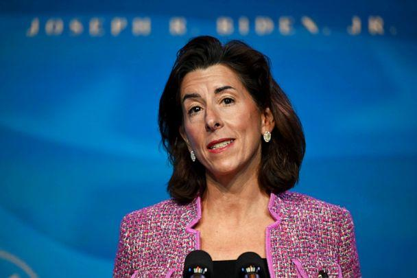 PHOTO: Rhode Island Gov. Gina Raimondo, nominee for Secretary of Commerce, speaks after being nominated by President-elect Joe Biden in Wilmington, Del., Jan. 8, 2021. (Jim Watson/AFP via Getty Images)