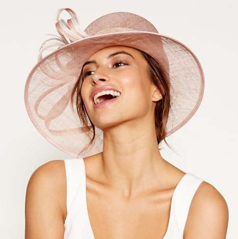 Pink two tone feather trim hat, Debenhams, £50