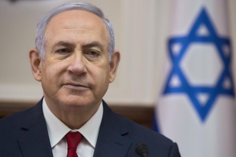 Israeli Prime Minister Benjamin Netanyahu chairs the weekly cabinet meeting at the Prime Minister's office in Jerusalem, Sunday, Feb. 17, 2019. (AP Photo/Sebastian Scheiner, Pool)