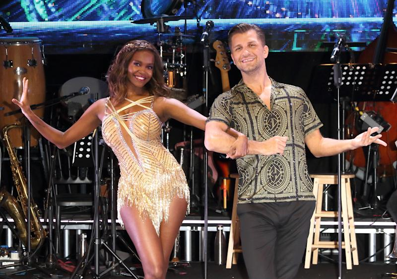 Oti Mabuse and Pasha Kovalev seen at the Strictly Come Dancing. The Professionals UK Tour 2019 - Photocall at Elstree Studios. (Photo by Keith Mayhew / SOPA Images/Sipa USA)