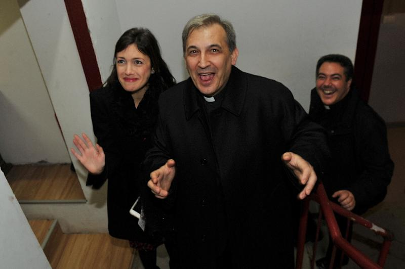 """Spanish Monsignor Lucio Vallejo Balda admitted leaking classified documents to journalists but claims he did so under pressure from Francesca Chaouqui after she made advances to him culminating in a """"compromising"""" encounter in a Florence hotel (AFP Photo/Umberto Pizzi)"""