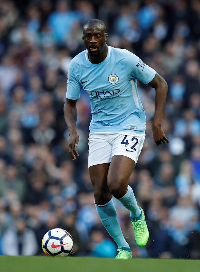 "Soccer Football - Premier League - Manchester City v Swansea City - Etihad Stadium, Manchester, Britain - April 22, 2018 Manchester City's Yaya Toure in action REUTERS/Phil Noble EDITORIAL USE ONLY. No use with unauthorized audio, video, data, fixture lists, club/league logos or ""live"" services. Online in-match use limited to 75 images, no video emulation. No use in betting, games or single club/league/player publications. Please contact your account representative for further details."