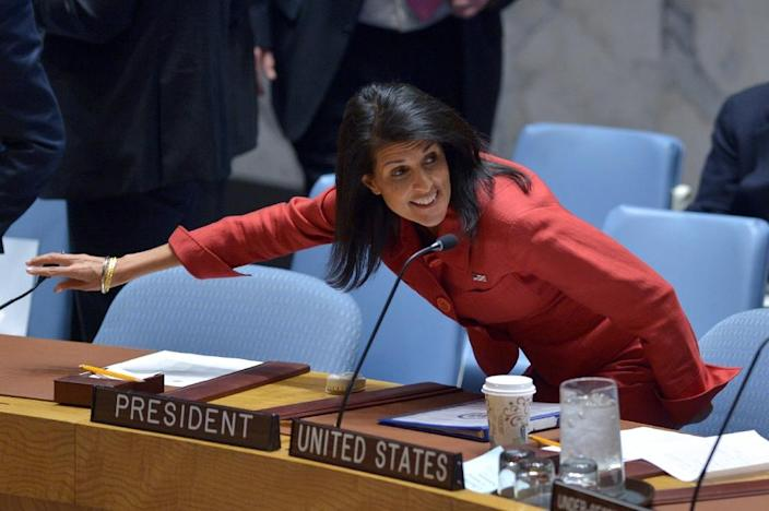 Washington UN envoy Nikki Haley told reporters that China is pushing Pyongyang through back channels to change its behavior and discussing with the United States the timing of a possible new sanctions resolution (AFP Photo/Jewel SAMAD)