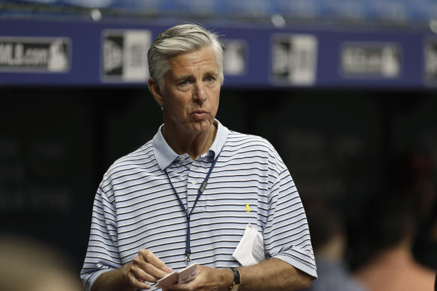 FILE - In this March 30, 2018, file photo, Dave Dombrowski, President of Baseball Operations for the Boston Red Sox, looks on before a spring baseball game between the Tampa Bay Rays and the Red Sox, in St. Petersburg, Fla. The defending champions head to spring training this month without a closer after allowing Craig Kimbrel to test the free agent market. Joe Kelly, who emerged as one of the teams more reliable setup men during its run of three straight AL East titles, is also gone after signing with the Los Angeles Dodgers. (AP Photo/Chris O'Meara, File)