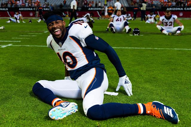 Much to the delight of fans, Denver Broncos WR Emmanuel Sanders ran in cleats for the first time since tearing his Achilles last season. (Photo by Ric Tapia/Icon Sportswire via Getty Images)