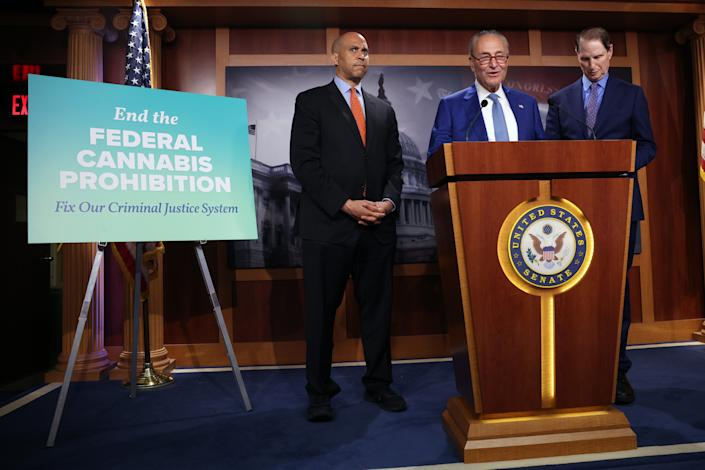 Senate Majority Leader Chuck Schumer (D-NY) joined Sen. Cory Booker (D-NJ) and Sen. Ron Wyden (D-OR) to unveil their plan to end federal marijuana prohibition. (Photo by Kevin Dietsch/Getty Images)