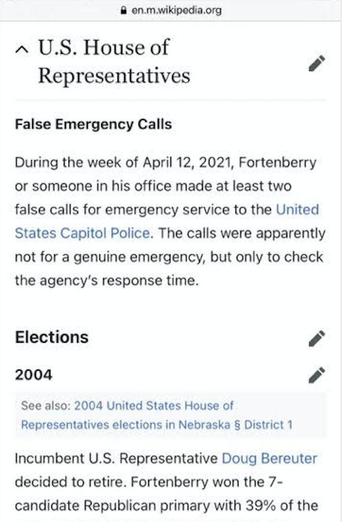 "A screenshot of Rep. Jeff Fortenberry's Wikipedia page. The section titled ""False Emergency Calls"" was later deleted. (Photo: Wikipedia)"
