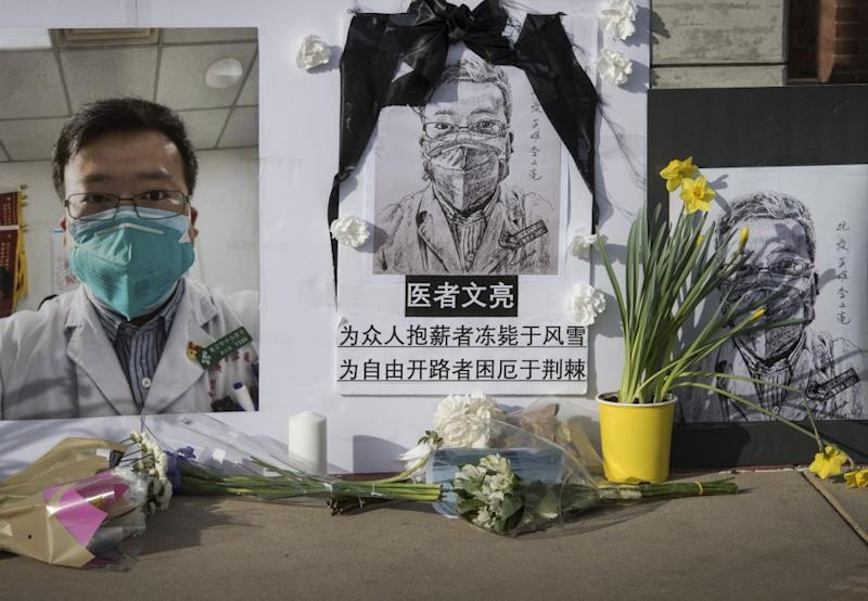 Le Dr Li Wenliang, mort du covid-19, le premier à avoir alerté sur le virus (Photo by Mark RALSTON / AFP)