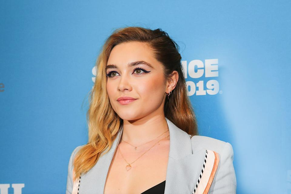 "PARK CITY, UTAH - JANUARY 28: Actress Florence Pugh poses for a photo at a Sundance special screening of ""Fighting with My Family"" on January 28, 2019 in Park City, Utah. (Photo by Suzi Pratt/Getty Images for Metro Goldwyn Mayer Pictures)"