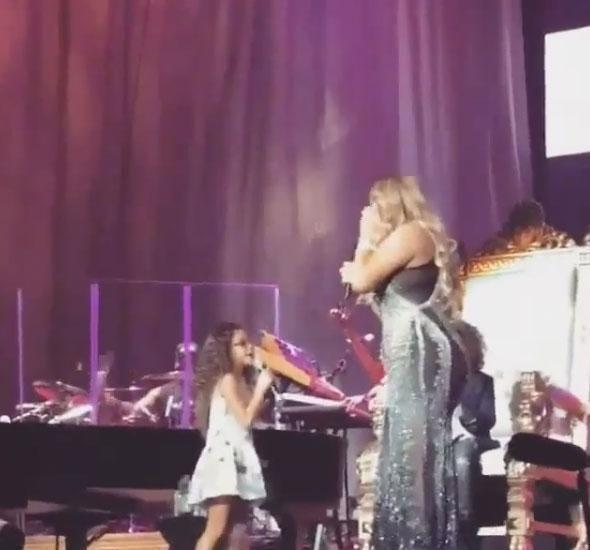 Mariah and Monroe belt out a hit together. Source: Instagram