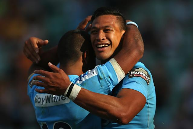 SYDNEY, AUSTRALIA - FEBRUARY 23: Israel Folau of the Waratahs celebrates scoring his third try during the round two Super Rugby match between the Waratahs and the Western Force at Allianz Stadium on February 23, 2014 in Sydney, Australia. (Photo by Mark Kolbe/Getty Images)