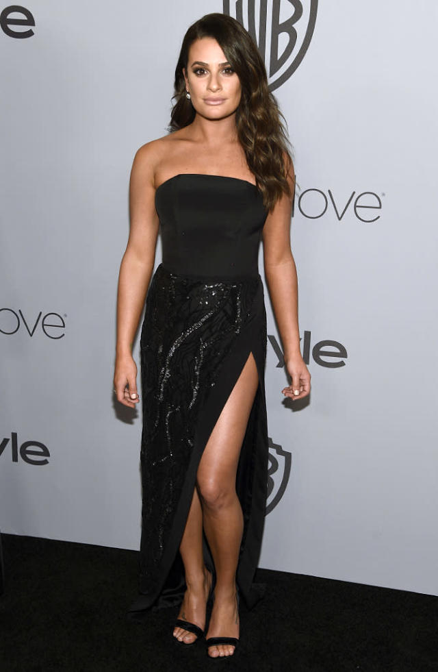 <p>Lea Michele arrives at the InStyle and Warner Bros. party. (Photo: Chris Pizzello/Invision/AP) </p>