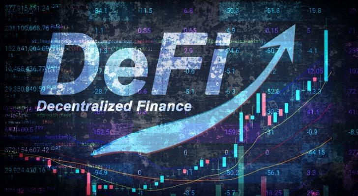 """Image shows the word """"DeFi Decentralized Finance"""" on a holographic design. In this article, SmartAsset takes a closer look at what Ethereum is and how to buy it."""