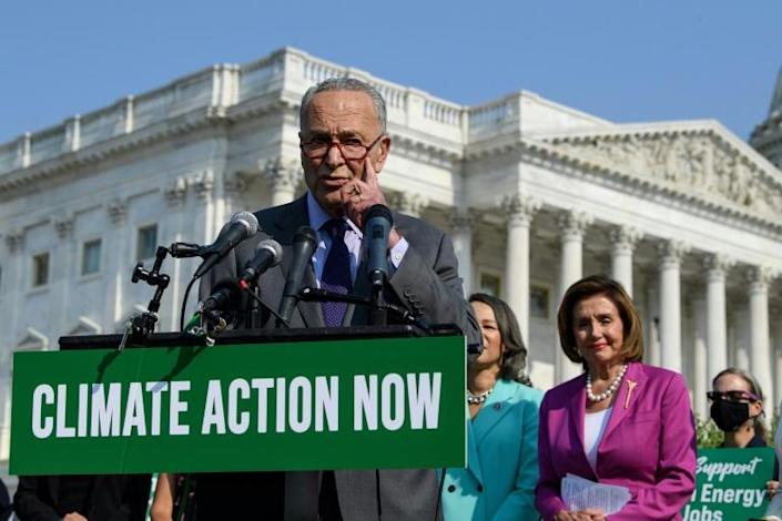 """US Senate Majority Leader Chuck Schumer said """"we are going to get the job done,"""" after the Senate voted to advance a massive, bipartisan infrastructure measure that is a key plank in President Joe Biden's domestic agenda"""