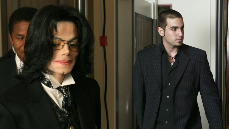 Michael Jackson re-enters the courtroom after a break during his molestation trial on April 12, 2005; Defense witness Wade Robson, arrives at Michael Jackson's child molestation trial on May 5, 2005.