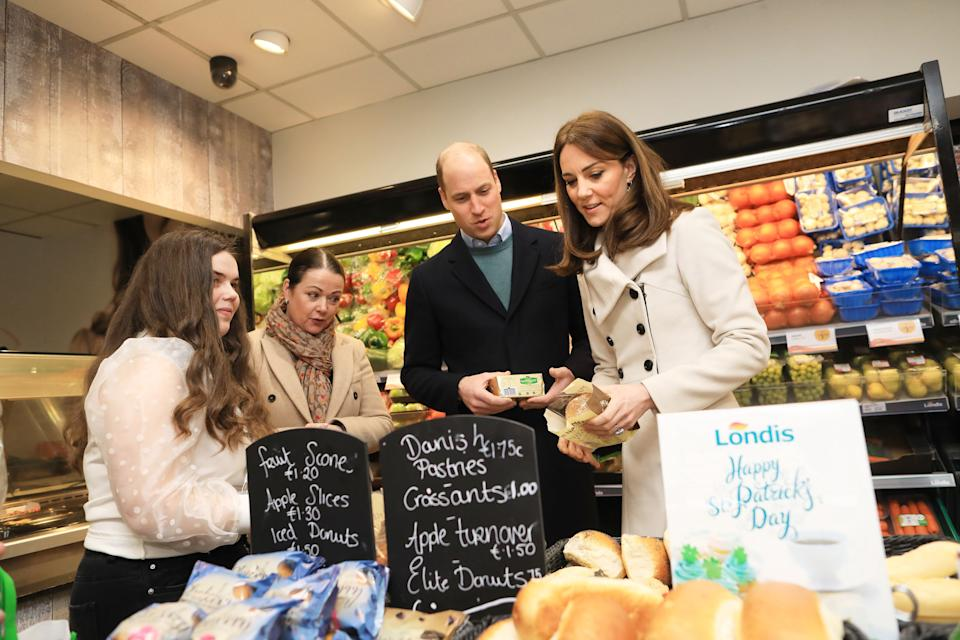 Department of Foreign Affairs and the British Embassy handout photo of the Duke and Duchess of Cambridge visiting a Londis supermarket in Prosperous, Co Kildare, during their three day visit to the Republic of Ireland.