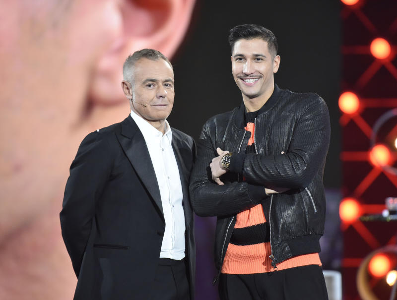 MADRID, SPAIN - DECEMBER 12: (L-R) Jordi Gonzalez and Gianmarco Onestini during 'Gran Hermano VIP 7' gala on December 12, 2019 in Madrid, Spain. (Photo by Europa Press Entertainment/Europa Press via Getty Images)