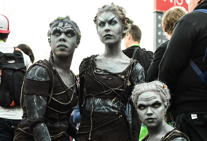 """<div class=""""inline-image__caption""""><p>Cosplayers pose as characters from Game of Thrones during New York Comic Con 2019 on October 05, 2019 in New York City. </p></div> <div class=""""inline-image__credit"""">DANIEL ZUCHNIK/Getty</div>"""