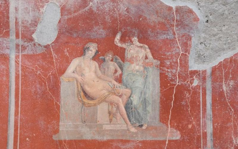 The inscription and frescoes came to light during a new phase of excavations at Pompeii - Pompeii
