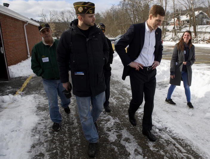 Lamb leaves the American Legion Post 902 after a rally on Jan. 13 in Houston, Pa., in the southwestern corner of the state. (Photo: Jeff Swensen/Getty Images)