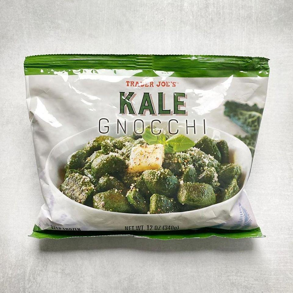 """<p>Trader Joe's <a href=""""https://www.traderjoes.com/digin/post/cauliflower-gnocchi"""" rel=""""nofollow noopener"""" target=""""_blank"""" data-ylk=""""slk:Cauliflower Gnocchi"""" class=""""link rapid-noclick-resp"""">Cauliflower Gnocchi</a> has sealed its spot as a TJ's must-have. A new variety is trying to do the same thing, so now's your chance to try <a href=""""https://www.instagram.com/p/B7B05Iypnge/"""" rel=""""nofollow noopener"""" target=""""_blank"""" data-ylk=""""slk:Kale Gnocchi"""" class=""""link rapid-noclick-resp"""">Kale Gnocchi</a>. </p><p>It's made of kale (of course), potato starch, chickpea flour, sea salt, and extra virgin olive oil. You can sauté it on the stovetop or boil the pasta alternative. Then, just top it with your favorite tomato sauce or butter and Parmesan cheese for an easy, tasty dinner. </p><p><strong>More:</strong> <a href=""""https://www.bestproducts.com/lifestyle/a29785811/trader-joes-chocolate-lava-gnocchi/"""" rel=""""nofollow noopener"""" target=""""_blank"""" data-ylk=""""slk:Trader Joe's Is Selling Chocolate Lava Gnocchi"""" class=""""link rapid-noclick-resp"""">Trader Joe's Is Selling Chocolate Lava Gnocchi</a></p>"""