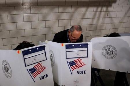 U.S. Senator Chuck Schumer fills out his ballot at PS 321 in the Brooklyn borough of New York