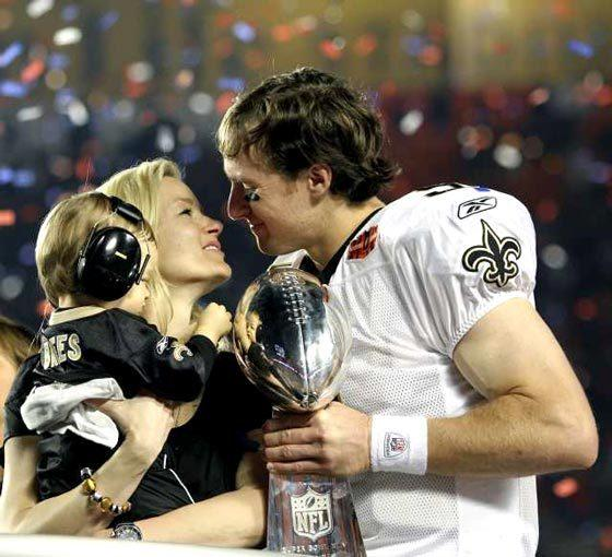 "Drew and Brittany Brees celebrate the New Orleans Saints' Super Bowl victory over the Indianapolis Colts on Feb. 7, 2010. <span class=""copyright"">(Al Diaz / McClatchy-Tribune)</span>"