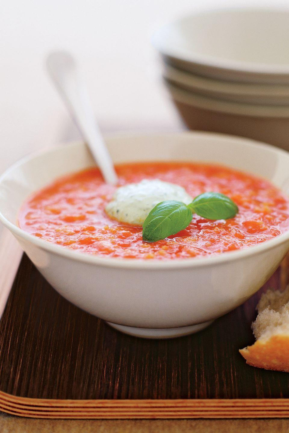 """<p>A splash of red-pepper sauce adds a little zing to this classic tomato gazpacho recipe. </p><p><strong><a href=""""https://www.countryliving.com/food-drinks/recipes/a8726/gazpacho-2783/"""" rel=""""nofollow noopener"""" target=""""_blank"""" data-ylk=""""slk:Get the recipe"""" class=""""link rapid-noclick-resp"""">Get the recipe</a>.</strong></p>"""