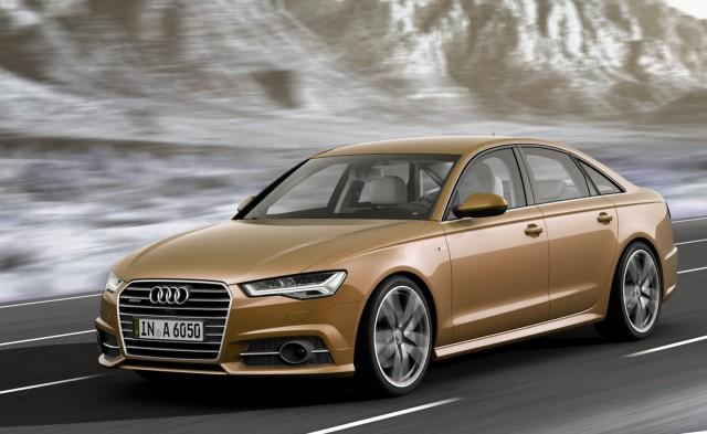 Gold Audi A6 on the road