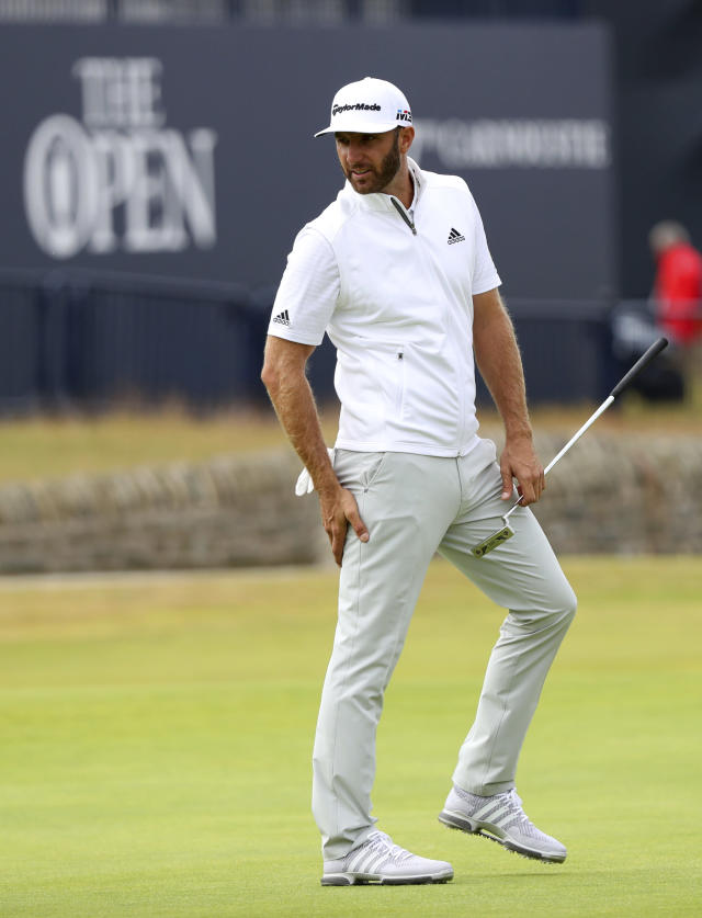 Dustin Johnson of the United States on the 18th green during a practice round for the 147th Open golf Championship at Carnoustie golf club, Scotland, Tuesday, July 17th 2018. (AP Photo/Peter Morrison)