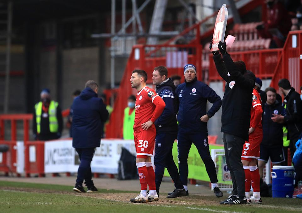 Crawley Town substitute Mark Wright waits to come on during the Emirates FA Cup third round match at the People's Pension Stadium, Crawley.