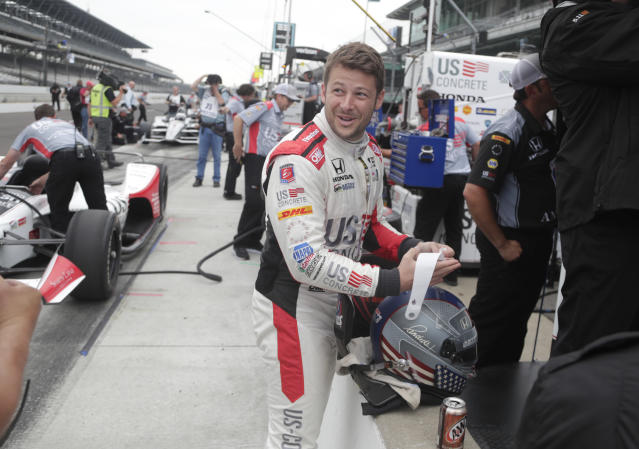 Marco Andretti prepares to drive during a practice session for the IndyCar Indianapolis 500 auto race at Indianapolis Motor Speedway, in Indianapolis Friday, May 18, 2018. (AP Photo/Michael Conroy)