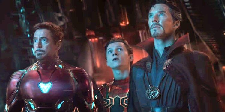 RDJ, Tom Holland and Benedict Cumberbatch in Infinity War (Credit: Marvel/Disney)